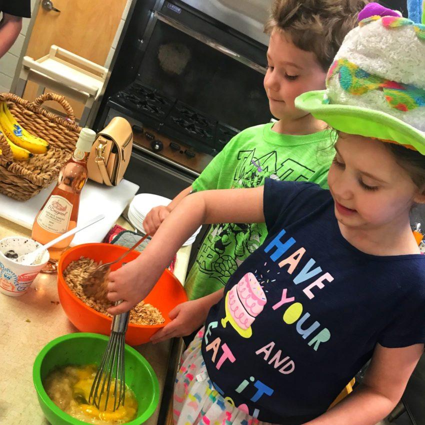 making birthday muffins